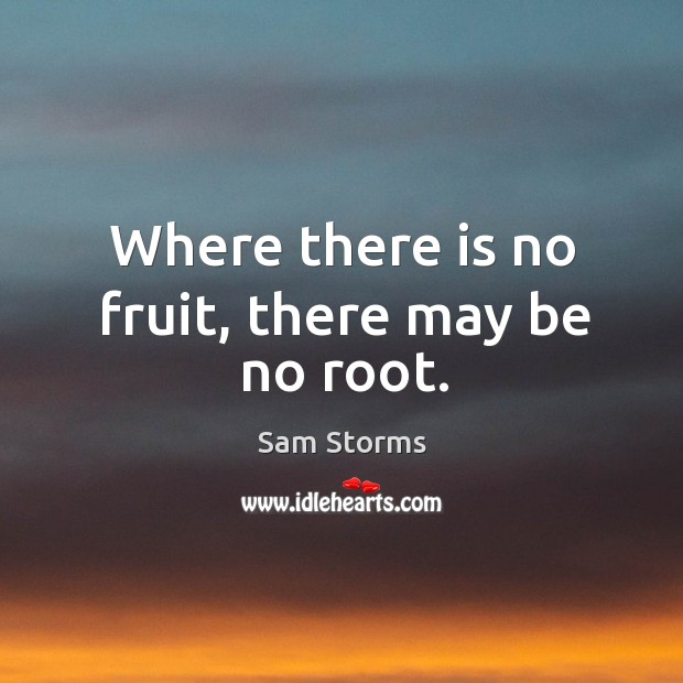 Where there is no fruit, there may be no root. Sam Storms Picture Quote