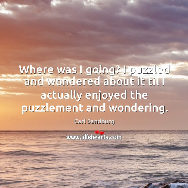 Where was I going? I puzzled and wondered about it til I actually enjoyed the puzzlement and wondering. Image
