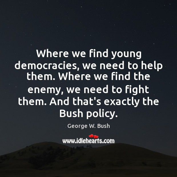 Image, Where we find young democracies, we need to help them. Where we