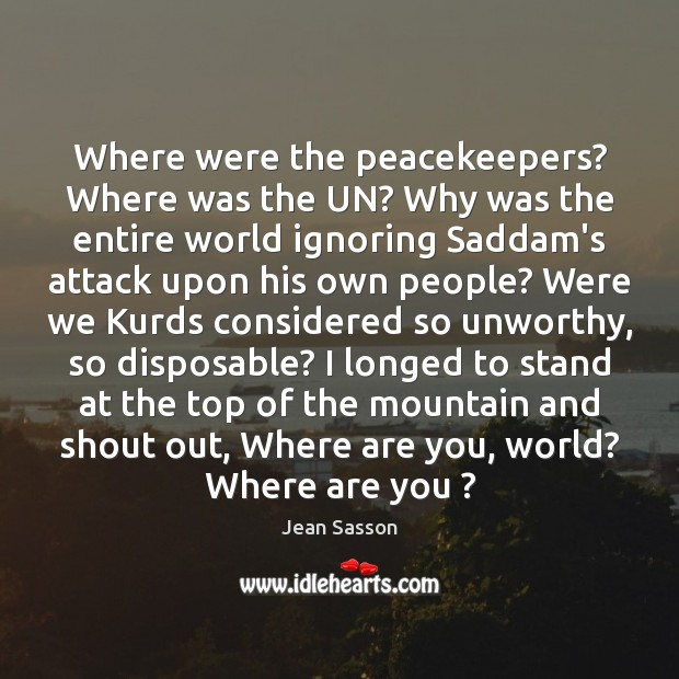 Where were the peacekeepers? Where was the UN? Why was the entire Image