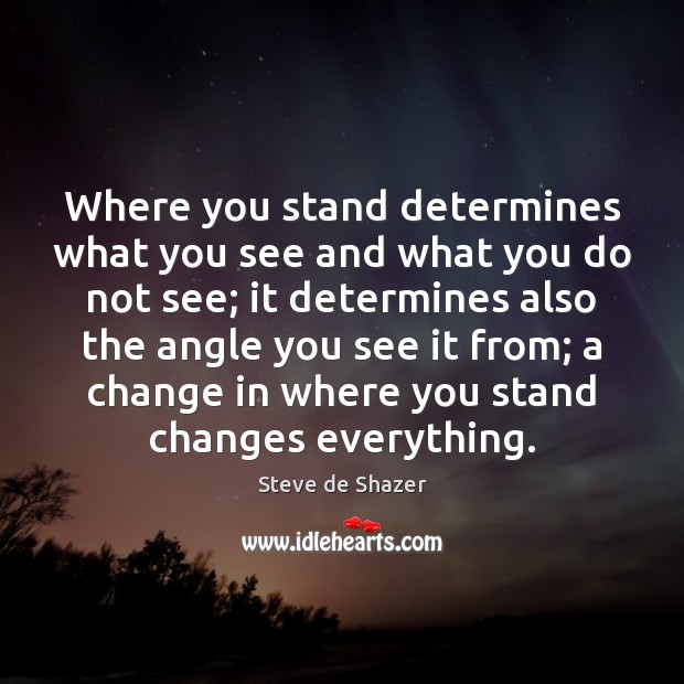 Where you stand determines what you see and what you do not Image