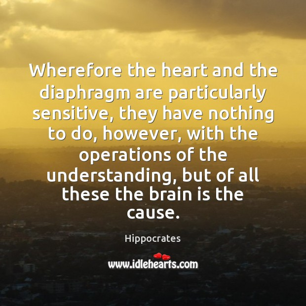 Wherefore the heart and the diaphragm are particularly sensitive, they have nothing Hippocrates Picture Quote