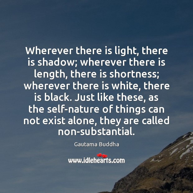 Wherever there is light, there is shadow; wherever there is length, there Image