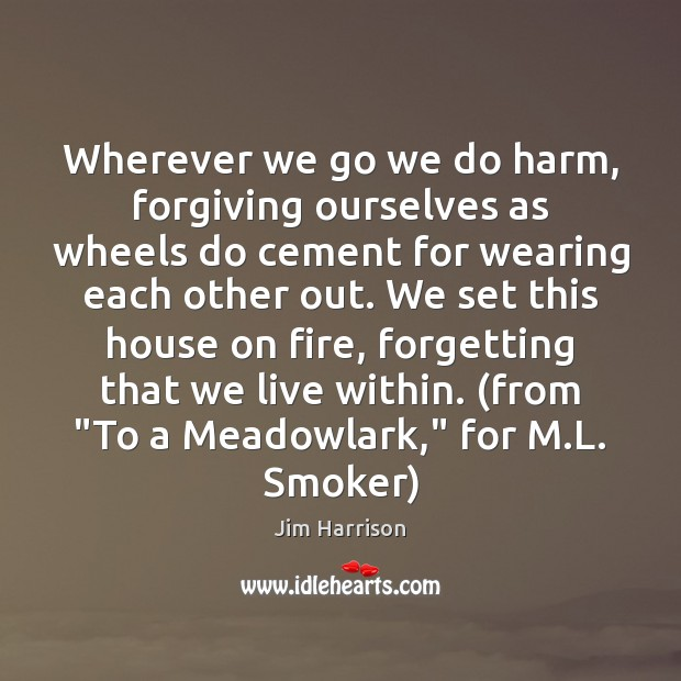 Wherever we go we do harm, forgiving ourselves as wheels do cement Jim Harrison Picture Quote