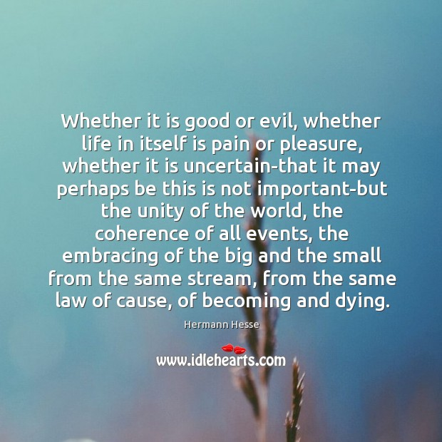 Whether it is good or evil, whether life in itself is pain Image