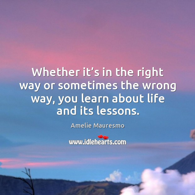 Image, Whether it's in the right way or sometimes the wrong way, you learn about life and its lessons.
