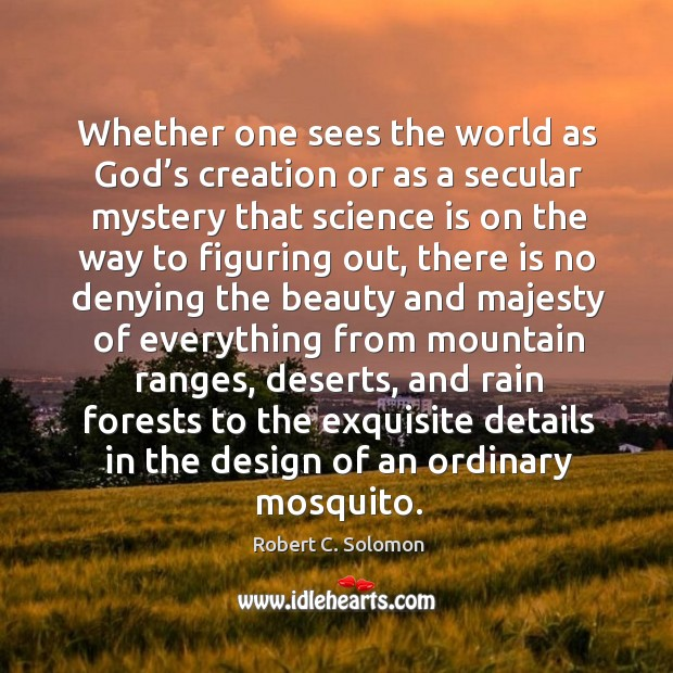 Whether one sees the world as God's creation or as a secular mystery that science is on the way to figuring out Image
