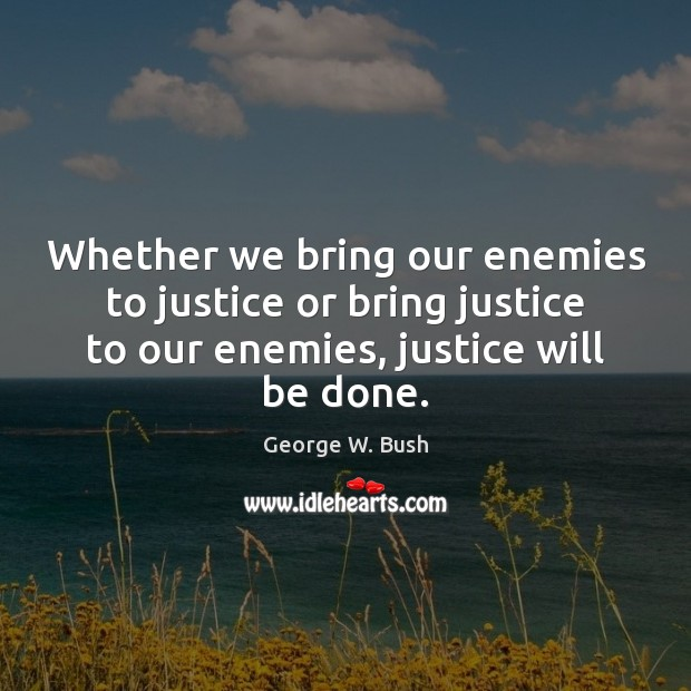 Image, Whether we bring our enemies to justice or bring justice to our