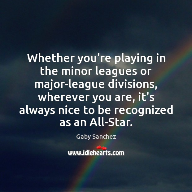 Image, Whether you're playing in the minor leagues or major-league divisions, wherever you