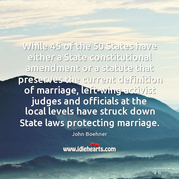 While 45 of the 50 states have either a state constitutional amendment Image