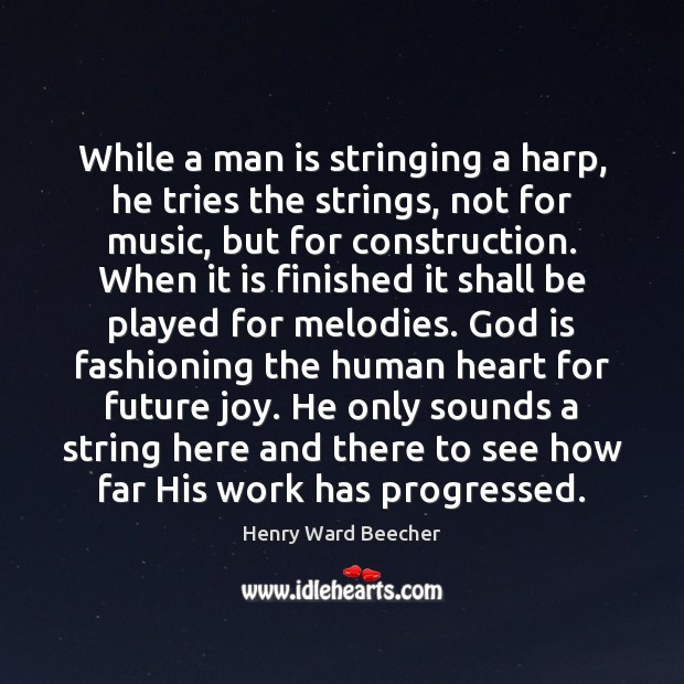 Image, While a man is stringing a harp, he tries the strings, not