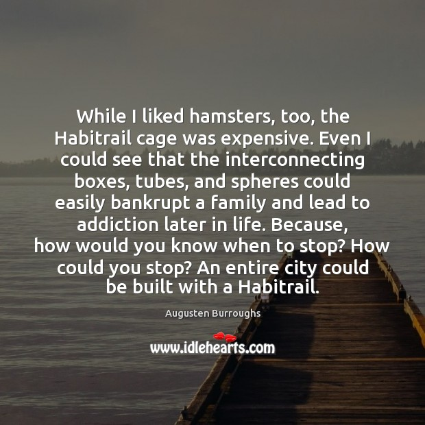 While I liked hamsters, too, the Habitrail cage was expensive. Even I Augusten Burroughs Picture Quote