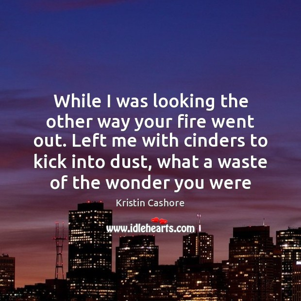 While I was looking the other way your fire went out. Left Kristin Cashore Picture Quote