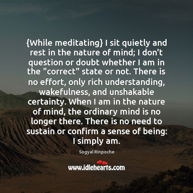{While meditating} I sit quietly and rest in the nature of mind; Sogyal Rinpoche Picture Quote