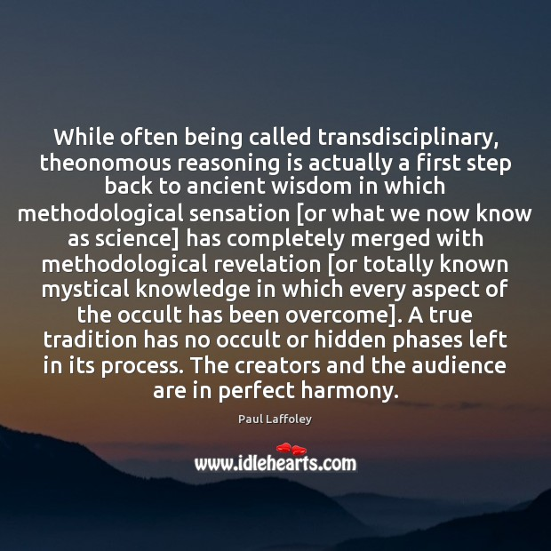Image, While often being called transdisciplinary, theonomous reasoning is actually a first step