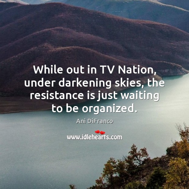 While out in TV Nation, under darkening skies, the resistance is just Ani DiFranco Picture Quote