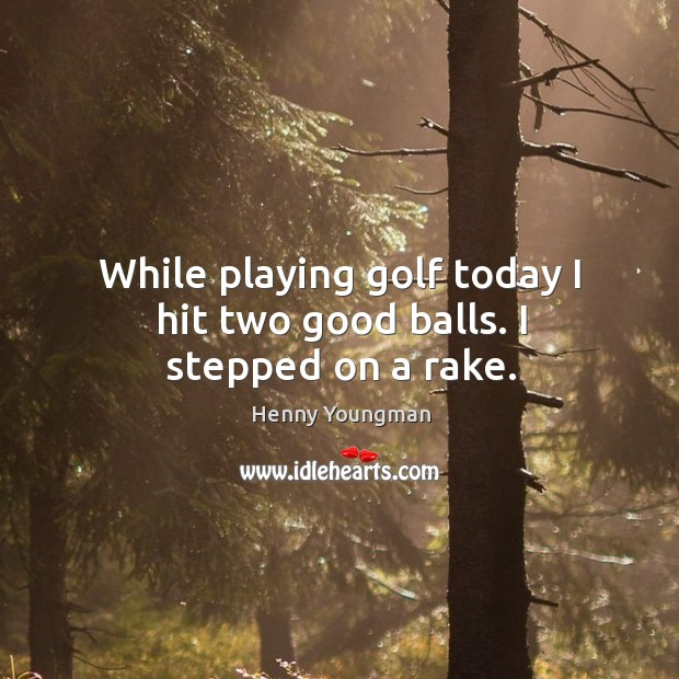 While playing golf today I hit two good balls. I stepped on a rake. Image