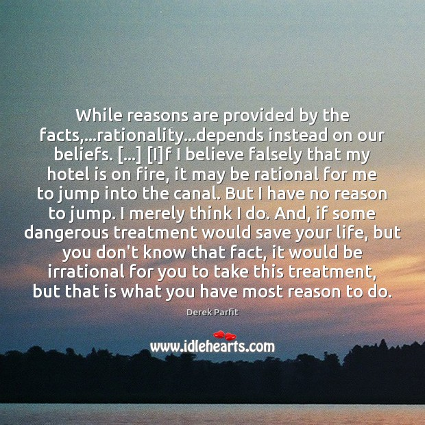Image, While reasons are provided by the facts,…rationality…depends instead on our