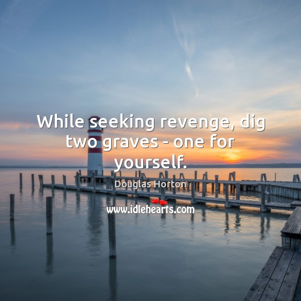 Image, While seeking revenge, dig two graves – one for yourself.