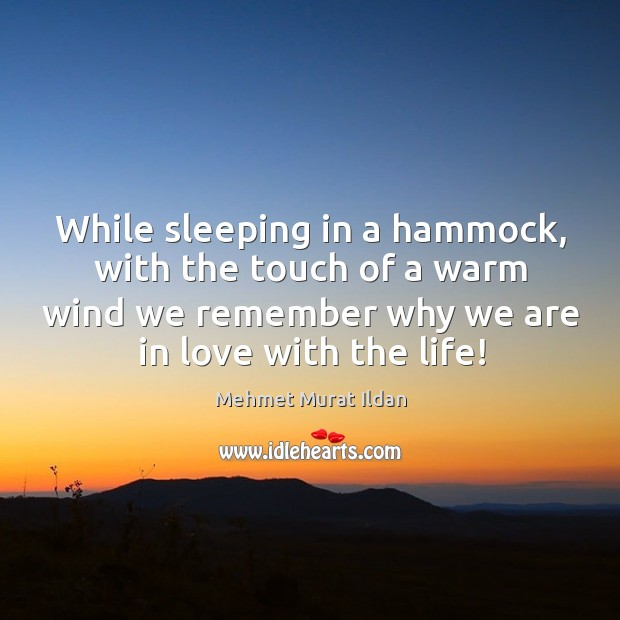 Image, While sleeping in a hammock, with the touch of a warm wind