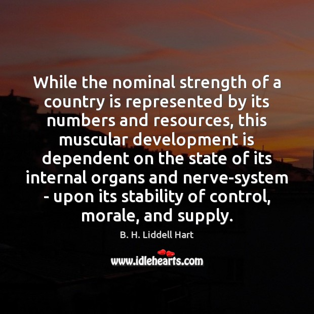 While the nominal strength of a country is represented by its numbers B. H. Liddell Hart Picture Quote