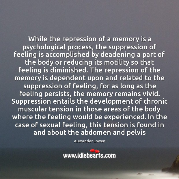 Image, While the repression of a memory is a psychological process, the suppression
