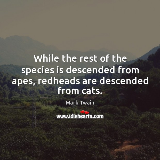 While the rest of the species is descended from apes, redheads are descended from cats. Image