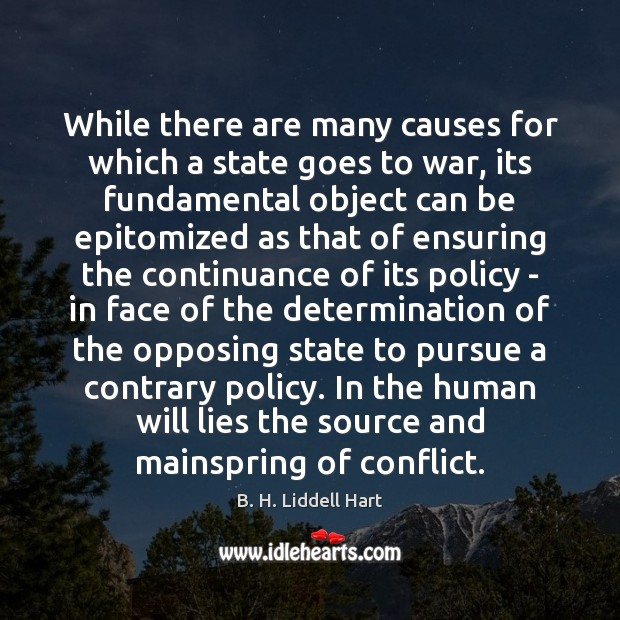 While there are many causes for which a state goes to war, B. H. Liddell Hart Picture Quote