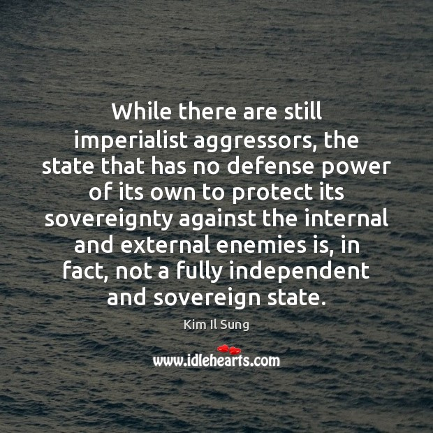 Image, While there are still imperialist aggressors, the state that has no defense