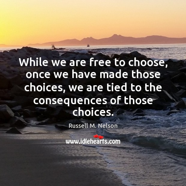 While we are free to choose, once we have made those choices, Image