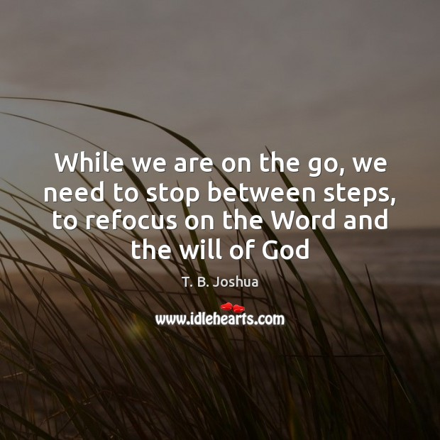 While we are on the go, we need to stop between steps, T. B. Joshua Picture Quote