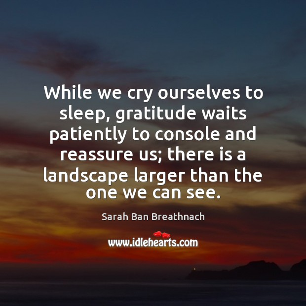 While we cry ourselves to sleep, gratitude waits patiently to console and Sarah Ban Breathnach Picture Quote