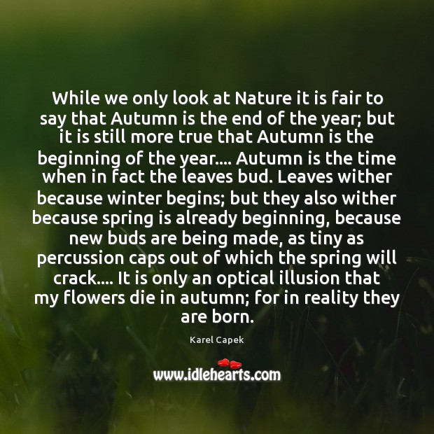 While we only look at Nature it is fair to say that Karel Capek Picture Quote