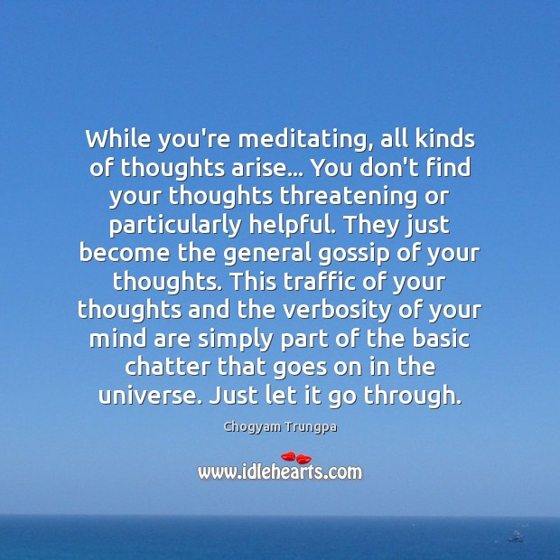 While you're meditating, all kinds of thoughts arise… You don't find your Image