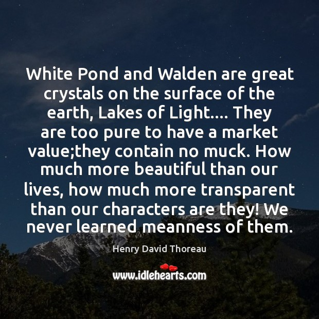 Image, White Pond and Walden are great crystals on the surface of the