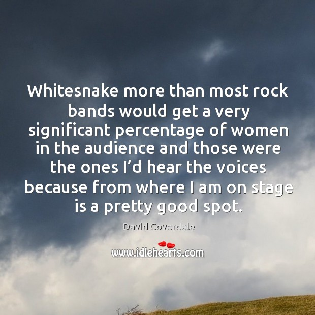 Image, Whitesnake more than most rock bands would get a very significant percentage of