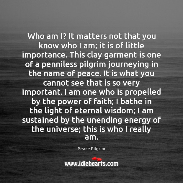 Image, Who am I? It matters not that you know who I am;
