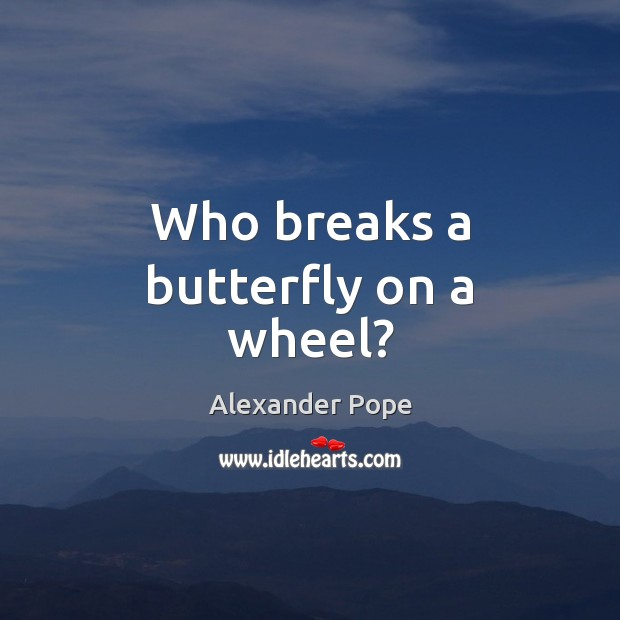 Who breaks a butterfly on a wheel? Alexander Pope Picture Quote