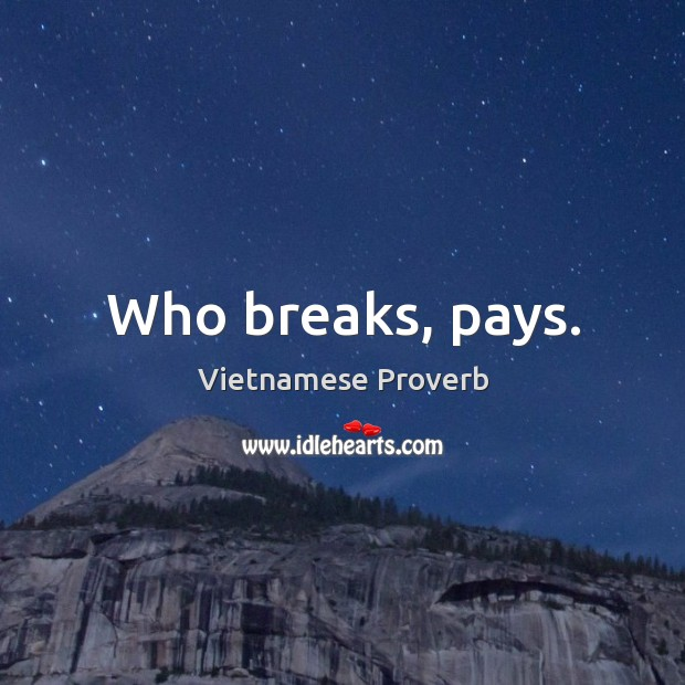 Who breaks, pays. Vietnamese Proverbs Image