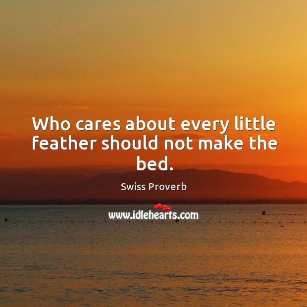 Who cares about every little feather should not make the bed. Swiss Proverbs Image