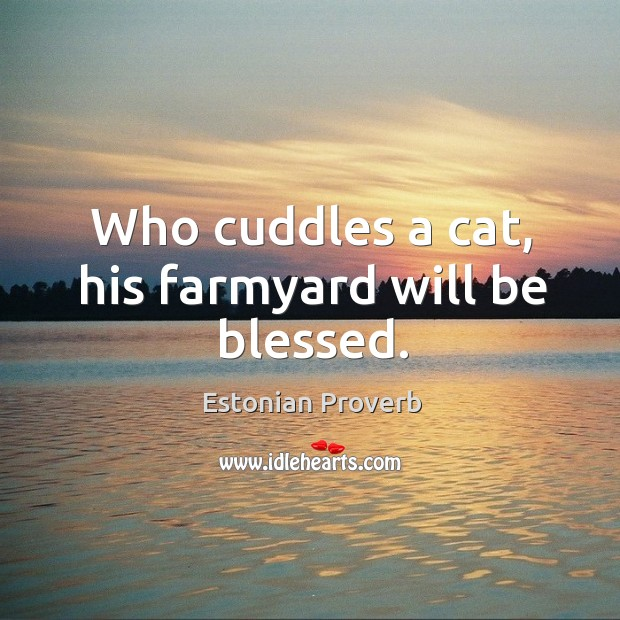Who cuddles a cat, his farmyard will be blessed. Estonian Proverbs Image