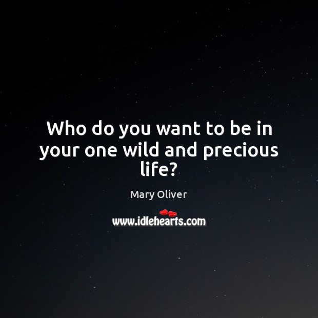 Who do you want to be in your one wild and precious life? Mary Oliver Picture Quote