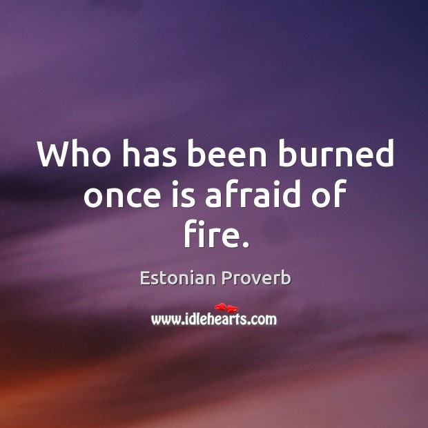 Image, Who has been burned once is afraid of fire.