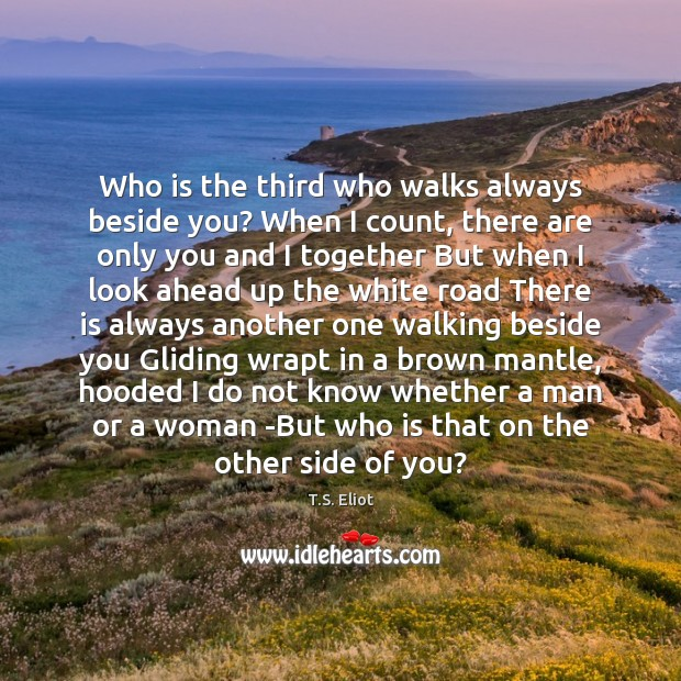 Image, Who is the third who walks always beside you? When I count,