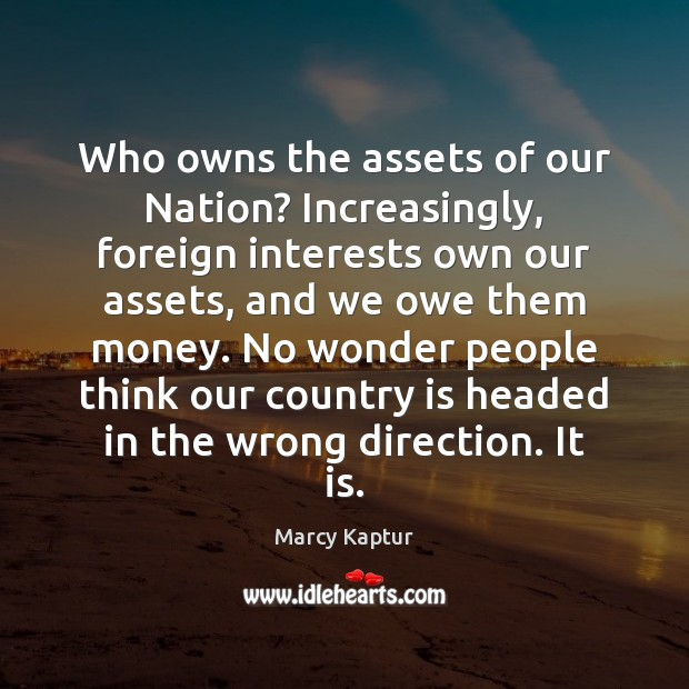 Who owns the assets of our Nation? Increasingly, foreign interests own our Image