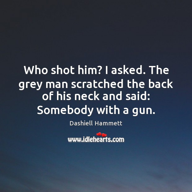 Who shot him? I asked. The grey man scratched the back of Image