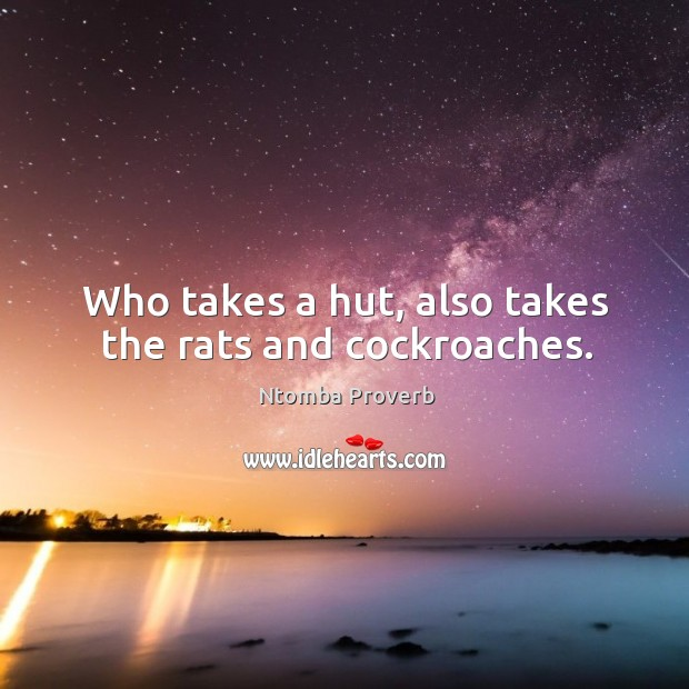 Who takes a hut, also takes the rats and cockroaches. Ntomba Proverbs Image