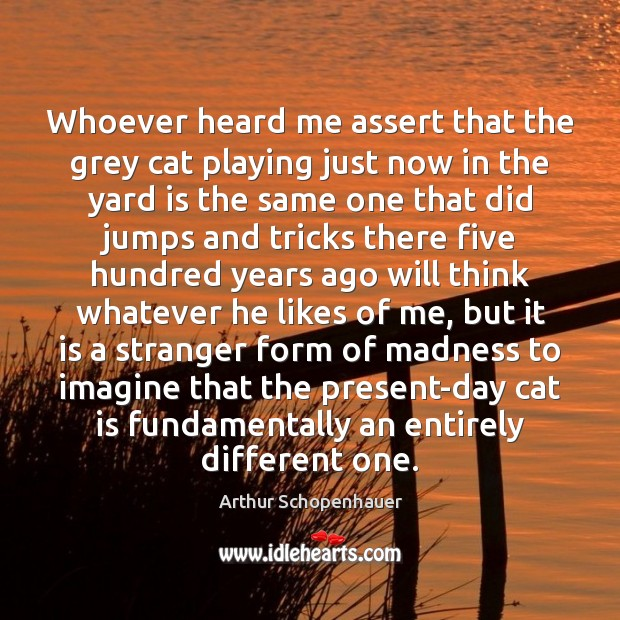 Whoever heard me assert that the grey cat playing just now in Arthur Schopenhauer Picture Quote