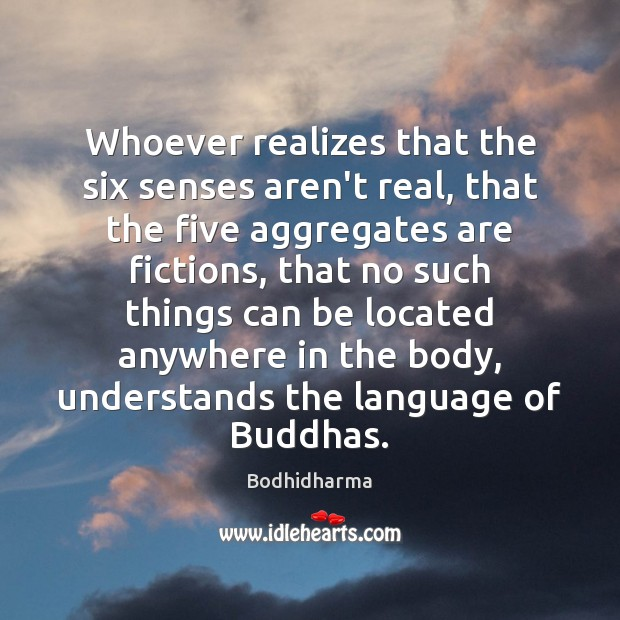 Whoever realizes that the six senses aren't real, that the five aggregates Bodhidharma Picture Quote