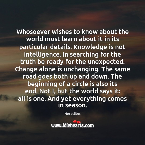 Whosoever wishes to know about the world must learn about it in Heraclitus Picture Quote